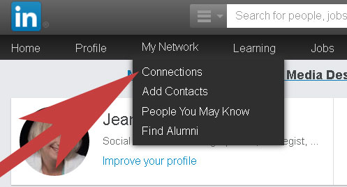 LinkedIn navigation bar
